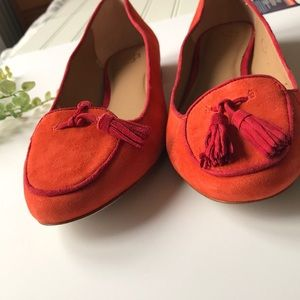Ann Taylor Shoes - Ann Taylor tassel loafers orange red slip on